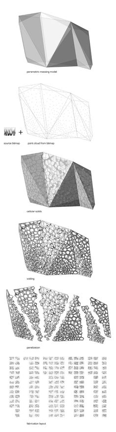 Banvard Gallery, Knowlton School of Architecture, Ohio State University, Columbus, Ohio Size: 12′ x 4′ x 8′ Research into cellular aggregate structures that has examined honeycomb and voronoi geometries and their ability to produce interesting structural, thermal, and visual performances. Volumetric cells which can be unfolded, CNC cut, and reassembled into larger aggregates.