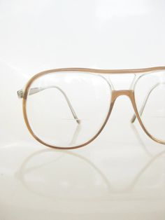 c5443ff182c Vintage 1970s AVIATOR Glasses    70s Mens Eyeglasses    Indie Optical  Frames HIPSTER Chic Guys COFFEE Brown