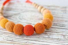 Toskana Crocheted Necklace  ombre orange  gift for by FrejaToys, $25.00
