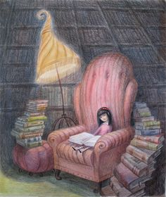 A girl and her books.