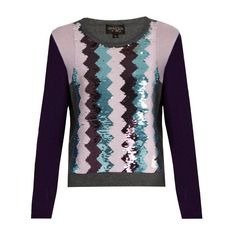 Giambattista Valli Sequin-embellished round-neck cashmere sweater (£375) ❤ liked on Polyvore featuring tops, sweaters, purple multi, purple sequin top, holiday tops, purple top, evening tops and round neck sweater