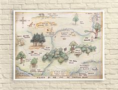 Classic Winnie the Pooh 100 acre wood map. This print is digitally distressed around the edges, which gives it a more vintage look. Perfect for