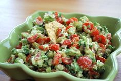 Avocado, Tomato & Feta Dip-good! Used lime juice, green onion, cilantro instead.