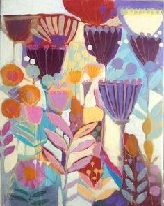 Original Acrylic Contemporary Painting on Canvas - Plantlife- by Annabel Burton