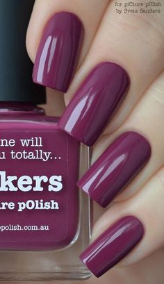 60 Dark Nails for Winter Art and Design violet color of nails - Violet Things Dark Color Nails, Matte Nail Colors, Solid Color Nails, Purple Nail Polish, Colors For Dark Skin, Dark Nails, Purple Nails, Matte Nails, Pink Color