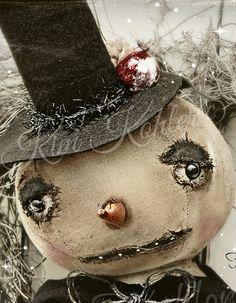 Folk Art Snowman Frosty Doll Vintage Style by Veenas Mercantile