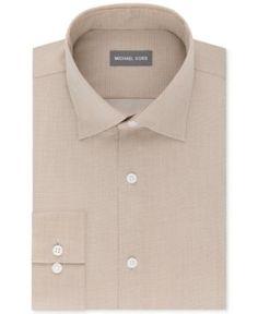 Michael Kors Men's Regular Fit Airsoft Stretch Non-Iron Performance Solid Dress Shirt - Tan/Beige 18 36/37