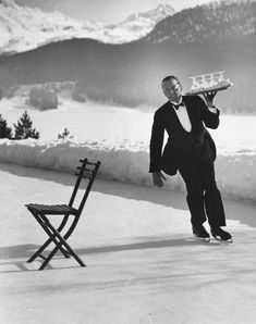 """life: """"Waiter Rene Breguet at waiter's school on skates practicing carrying tray of cocktails while on the ice, at the Grand Hotel in St. Moritz, Switzerland - (Photo by Alfred Eisenstaedt—The LIFE Picture Collection/Getty Images). Hotel St Moritz, Saint Moritz, Old Photos, Vintage Photos, Vintage Photographs, Iconic Photos, Slim Aarons, Vintage Ski, In Vino Veritas"""