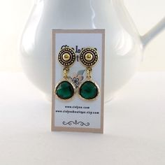 Emerald and Gold Earrings  Post Earrings  by CinLynnBoutique