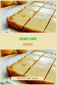 CREAMY LEMON SQUARES Easy Lemon Bars, Easy Lemon Desserts, Lemon Dessert Recipes, Lemon Coconut Bars, Lemon Yogurt, Sweet Recipes, Delicious Desserts, Lemon Squares Recipe, Squares Recipes
