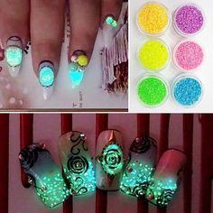 - Diy Acrylic Manicure Glitter Luminous Nail Art Sticker Stickers Tips Decoration Glitter Dust, Glitter Nail Art, Nail Art Hacks, Nail Art Diy, Diy Nails, Glitter Eyeshadow, Pink Glitter, Eyeshadow Palette, Light Nail Polish