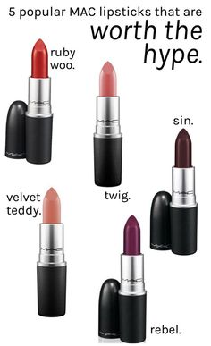 5 super popular MAC lipsticks that are worth the hype. MAC lipsticks used to be all the rage a few years ago. I feel like their popularity has died down a bit but these shades will always be cult classics. - April 27 2019 at Mac Lipstick Colors, Mac Lipstick Shades, Best Mac Lipstick, Best Lipsticks, Matte Lipsticks, Mac Lipstick Swatches, Most Popular Mac Lipsticks, Fall Lipstick, Colorful Makeup