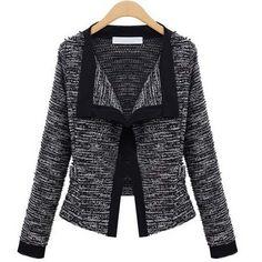 Buy from china:New 2014 Fashion Jackets Women Europe Slim Short Jacket Long Sleeve All Match Cardigan Black/White Top Quality