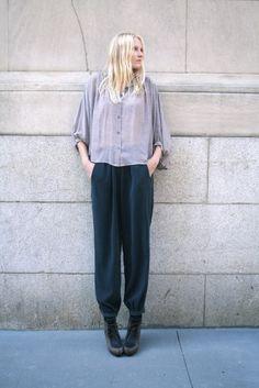 No.6 Chiffon Yoke Blouse in Bowtie Print, No.6 Trouser Pant in Cupro Navy Crinkle