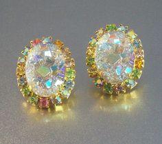 Vintage Juliana  Rhinestone Earrings Carved by LynnHislopJewels