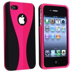 INSTEN Snap-on Rubber Coated Case For Apple iPhone 4 / 4S , Hot Pink / Black