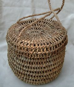 Old Woven Grass Basket Purse with Attached Lid by OfortheLOVEofDOG, $45.00