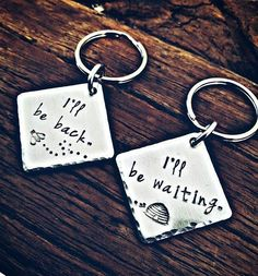 Set of two long distance relationship, hand stamped keychains. Deployment gift. out of town worker. keychain set, long distance love #LongDistance #site:1000questionsforcouples.info