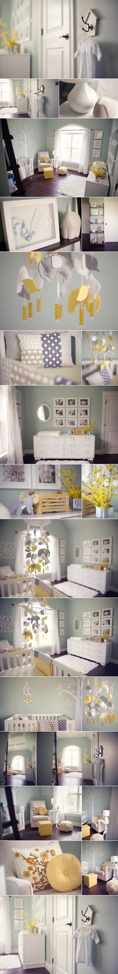 wall color-benjamin moor 'blue grass' ; curtains - akira collection from bouclair;  glider- monte luca glider in stone;  gray and yellow mobile- aprilderek on etsy