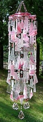 Special K Wind Chimes -My Pink Heaven - stained glass, OOAK window art