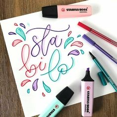 Welcome to the colorful world of STABILO! We create high-quality pens & pencils for writing, drawing and highlighting with cult status. Stabilo Pen 68, Stabilo Boss, Pretty Handwriting, Handwriting Fonts, Karten Diy, Bullet Journal Notes, Lettering Tutorial, Brush Lettering, Scrapbook Journal