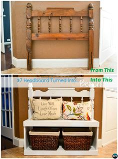 DIY Headboard Entry Bench with Best Bench DIY Projects furniture storage 20 Best Entryway Bench DIY Ideas Projects [Picture Instructions] Refurbished Furniture, Repurposed Furniture, Furniture Makeover, Furniture Ideas, Wood Furniture, Woodworking Furniture, Cheap Furniture, Furniture Storage, Discount Furniture