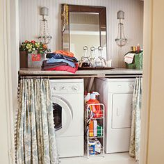 This has Heather Chadduck's fingerprint all over it! Her cleverly disguised laundry room/ mini bar! 18 Budget-Friendly Makeovers | Cheers and Chores After | SouthernLiving.com