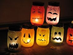 Halloween Painted Jar Luminaries | You could even use the new votive that are flameless! These are quite adorable!
