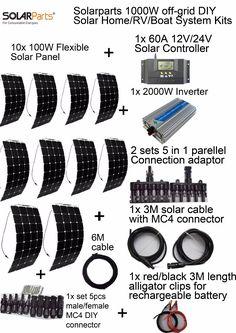 Goedkope Solarparts off grid Zonnestelsel KITS 1000 W flexibele zonnepaneel 1 stks 60A controller 2KW inverter, 2 sets 4 in1 MC4 adapter kabel, koop Kwaliteit zonnepaneel rechtstreeks van Leveranciers van China: Solarparts 1PCS 100W flexible solar panel 12V solar cell/module/system RV/car/marine/boat battery charger LED Sunpower l