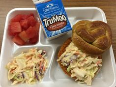 THIS is #SchoolLunch in Katy ISD ... very trendy Spicy Chicken on Whole Grain Pretzel Bun with Spicy Cole Slaw, plus watermelon and #ChocolateMilk. Cafeteria Food, Pretzel Bun, Fat Free Milk, Cole Slaw, School Lunches, Lunch Ideas, Watermelon, Toddlers, Spicy