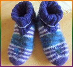 Silvis wool sofa: felt - slippers, knitting and felting with shank . Silvis wool sofa: felt - slippers, knitting and felting with shank . Knitting Socks, Free Knitting, Baby Knitting Patterns, Felt Shoes, Knitted Booties, Knitted Slippers, Baby Socks, Garter Stitch, Cardigan Pattern