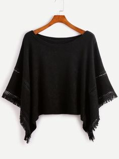 Grey Contrast Crochet Fringe Hem Poncho Sweater - One Size
