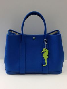 Authentic HERMES  GARDEN PARTY Bag BLUE HYDRA 36cm Tote Shopper Handbag Petit H #Hermes #TotesShoppers