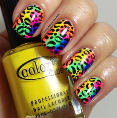Sponged Rainbow Leopard Nail Art YES! I wouldn't do all of them like this. maybe one ore two