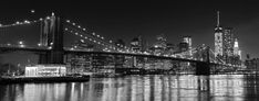Black and White NYC Photography Brooklyn Bridge Panorama New York City Skyline Large Wall Art City Lights Manhattan at Night Home Decor (60.00 USD) by klgphoto