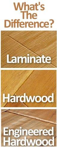 Laminate vs Hardwood vs Engineered Hardwood plus cleaning floor tips Flooring Options, Flooring Ideas, Cork Flooring, Wooden Flooring, Wood Flooring Types, Garage Flooring, Real Wood Floors, Granite Flooring, Plywood Floors