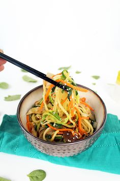 Vegan Zucchini Noodle Japchae (use olive oil instead of sesame oil, and tamari gluten-free soy sauce)
