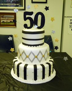 50th birthday cake ideas | Black, silver and gold 50th Birthday — Birthday Cakes