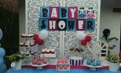 Mesa de dulces para el baby shower de mis mellizos...