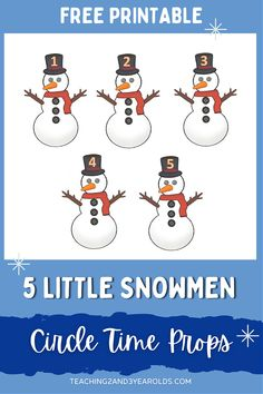 Five Little Snowmen Winter Circle Time Activity - Free Printable! #snowmen #props #circletime #music #songs #toddlers #preschool #printable #teachers #2yearolds #3yearolds #teaching2and3yearolds Lesson Plans For Toddlers, Preschool Lesson Plans, Preschool Learning Activities, Winter Activities, Preschool Activities, Circle Time Songs, Circle Time Activities, Movement Activities, Fun Songs