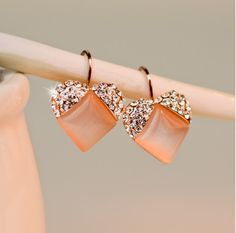 Fashion Crystal Heart Opal Alloy 18K Gold Plated Women's Hoop Earrings