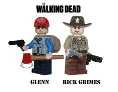 The Walking Dead GLENN & RICK GRIMES minifigure figure made with Lego