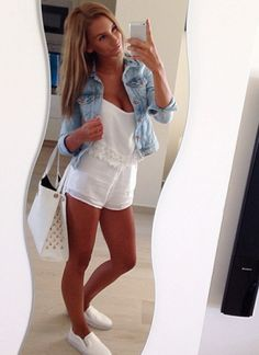 White romper with white sneaks, maybe Jean vest