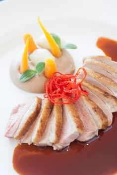 Breast of Duck With Blood Orange I Chestnut Purée I Candied Orange Zest I The Bocuse Restaurant I The Culinary Institute of America