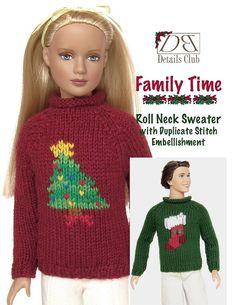 Knitting pattern for 12 inch fashion dolls Roll by DBDollPatterns