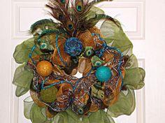 Deco Mesh Peacock Wreath