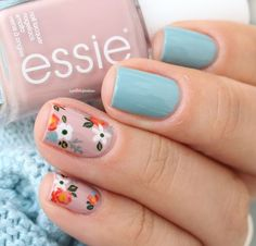 essie fall 2016 nail polish go go geisha udon know me pink and blue flower floral nail art Fancy Nails, Cute Nails, Pretty Nails, My Nails, Cute Spring Nails, Polish Nails, Summer Nails, Beautiful Nail Art, Gorgeous Nails