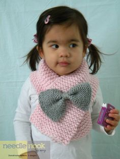The Toddler/Child Bow Scarf - You Chose the Color - Knit Bow Scarf - Bow Accessory. $20.00, via Etsy.