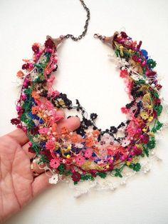 Hand Crochet Colorful Floral Necklace, Crochet Necklace, Beaded Flower Necklace,... - #beaded #colorful #crochet #floral #flower #hand #necklace
