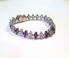 Vintage Purple Sapphire and Diamond Estate Jewelry Bracelet on Etsy, $89.00